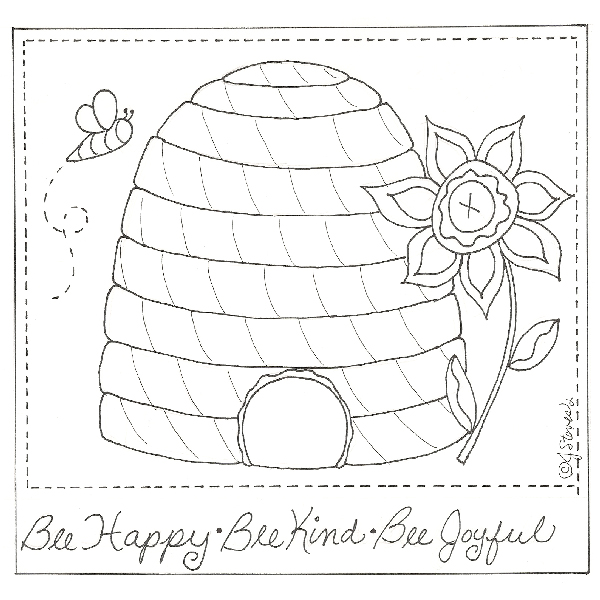 Bee Happy Free Embroidery Pattern- Jacquelynne Steves