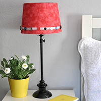 Fabric Covered Lampshade makeover- Jacquelynne Steves