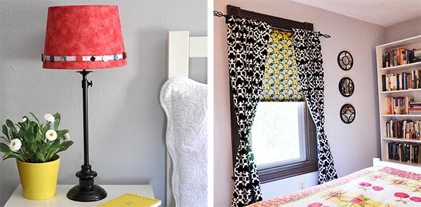 Fabric covered Lampshade Windowshade