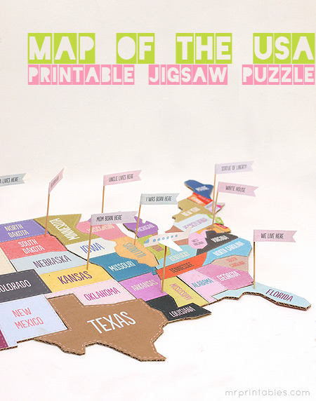 printable map of the usa jigsaw kids craft