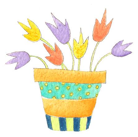 happy art flower pot tulips jacquelynne steves