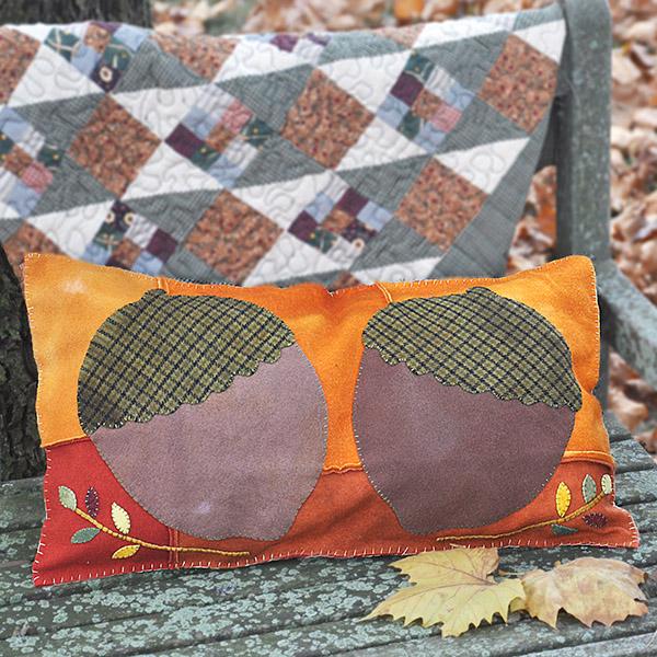 Wool Applique Acorn Pillow Project