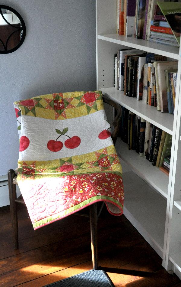Cherry Quilt Jacquelynne Steves, machine applique, fruitful hands fabric, grandmas pantry quilt pattern