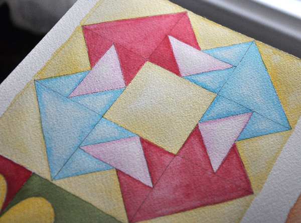 Painting a Watercolor Quilt Block