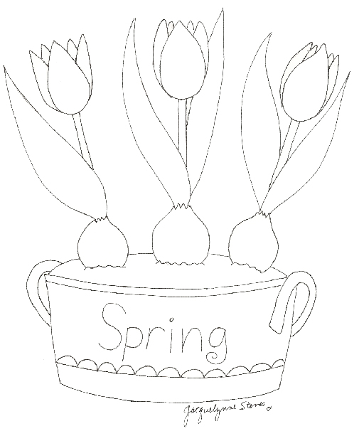 Spring Tulip Bucket embroidery  pattern Jacquelynne Steves