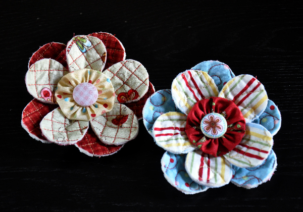 Stitched Stuff Spotlight: Fabric Flower Pattern (Scrappy Quilt-y Pin)