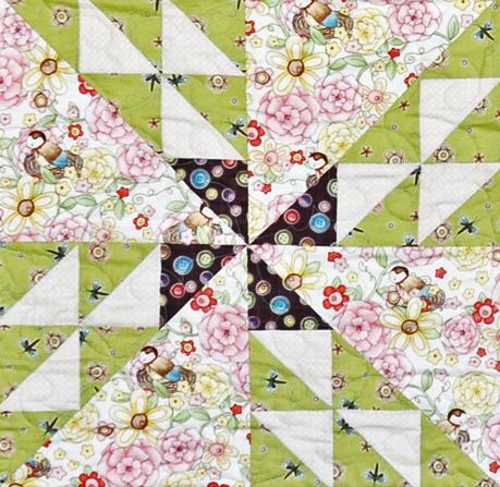 Spring Fling pinwheel quilt block, Jacquelynne Steves