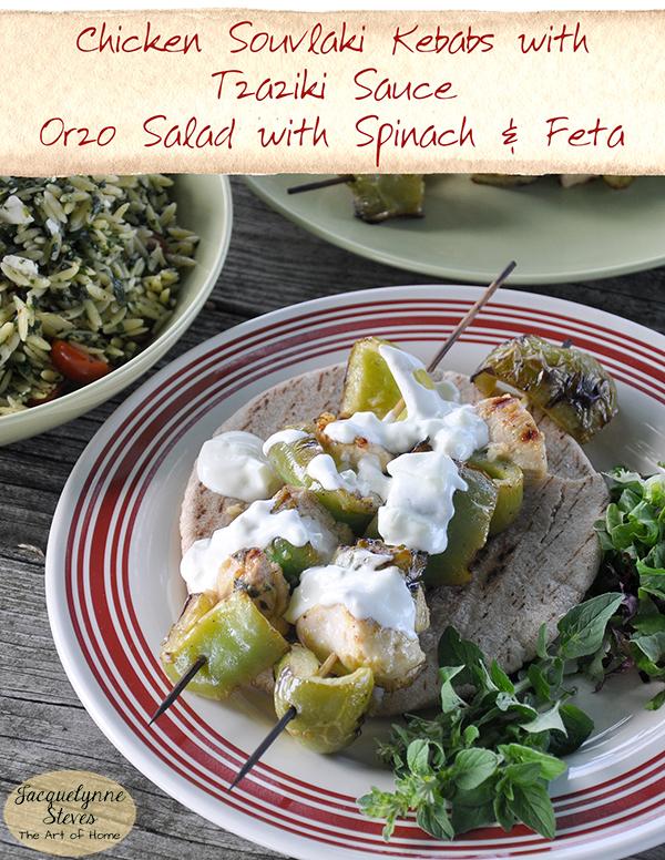 ChickenSouvlaki OrzoSalad Recipe- Jacquelynne Steves