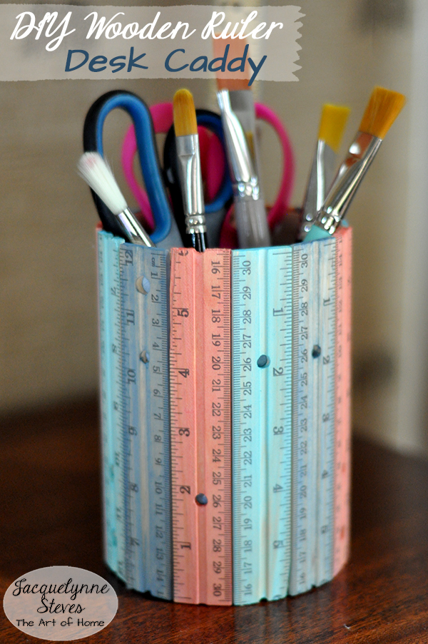 DIY Desk Organizer (made from wooden rulers!)