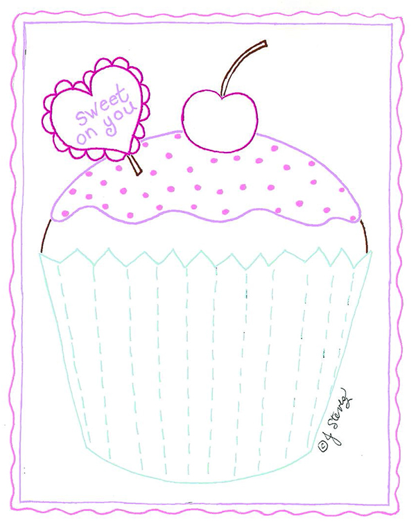 Free Cupcake Embroidery Pattern