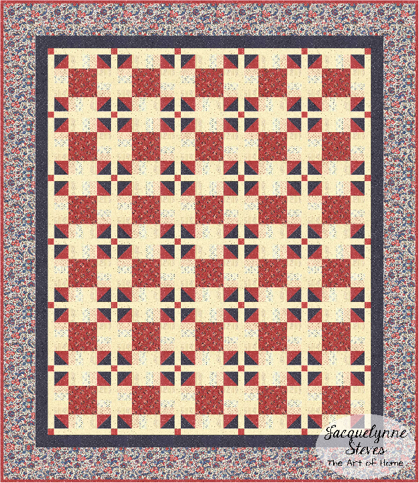 Red and Blue Quilt 2 for Cozy Afternoon Block of the Month-Jacquelynne Steves