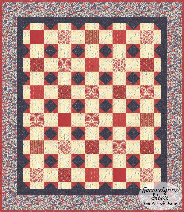 Red and Blue Quilt 3 for Cozy Afternoon Block of the Month- Jacquelynne Steves