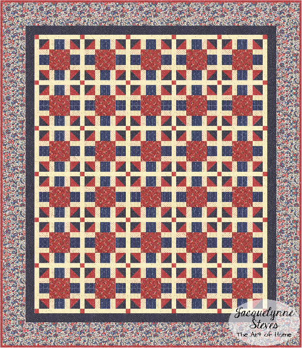 Red and Blue quilt for Cozy Afternoon Block of the Month- Jacquelynne Steves