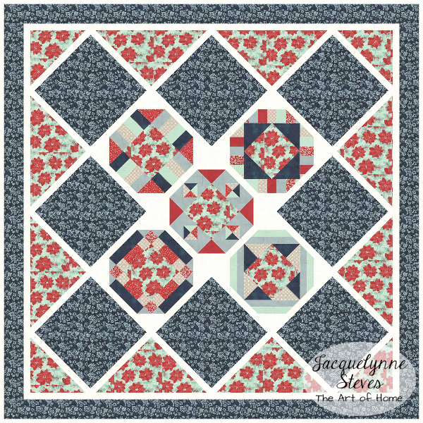 Cozy Afternoon Free BOM- Jacquelynne Steves- Red Blue Gray-