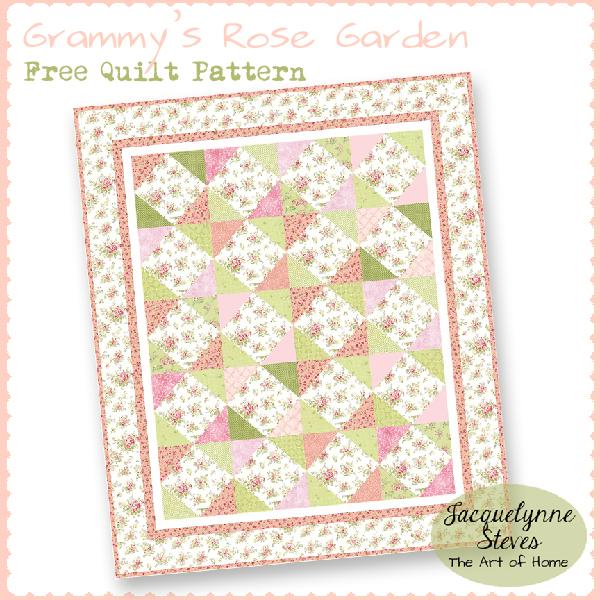 Grammy's Rose Garden Free Quilt Pattern- Jacquelynne Steves_