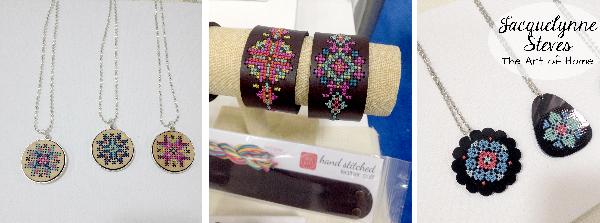 Quilt Market Spring 2015- Red Gate Stitchery- Cross Stitch Wooden Jewelry 2