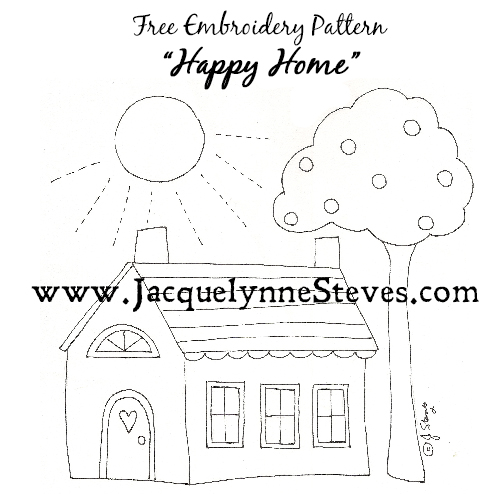 Free Embroidery Pattern- Happy Home- Jacquelynne Steves