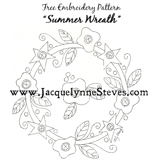 Free Embroidery Pattern- Summer Wreath- Jacquelynne Steves