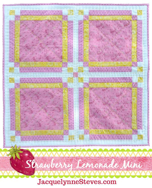 Strawberry Lemonade Mini Topper Quilt Pattern- Jacquelynne Steves