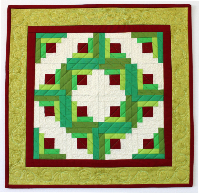Christa Quilts- Log Cabin Christmas Wreath