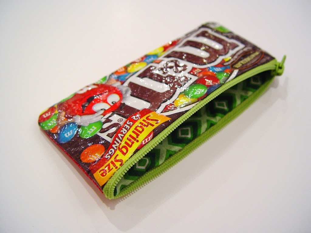 Sweet Tooth Pouch- turn candy wrappers into a pencil pouch- love this idea!!