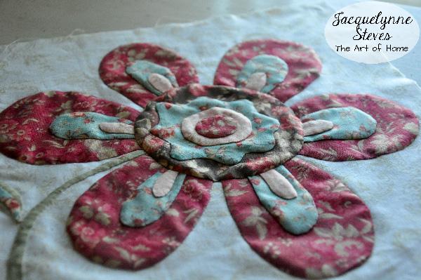 Flower Applique Block closeup- Jacquelynne Steves