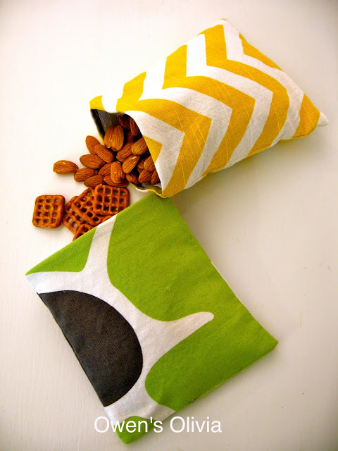 You will also need some reusable snack bags made up in cute fabrics...