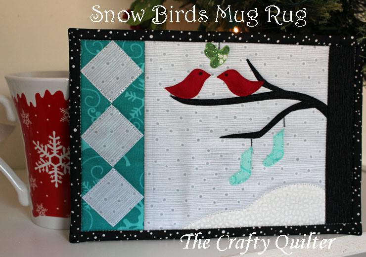 The Crafty Quilter- Snowbirds Mug Rug