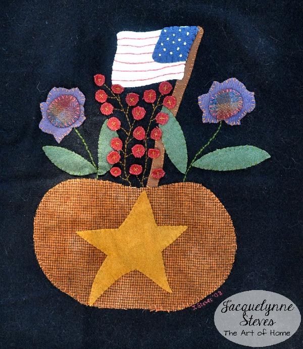 Wool Applique, Flag, pumpkin, flowers- Jacquelynne Steves