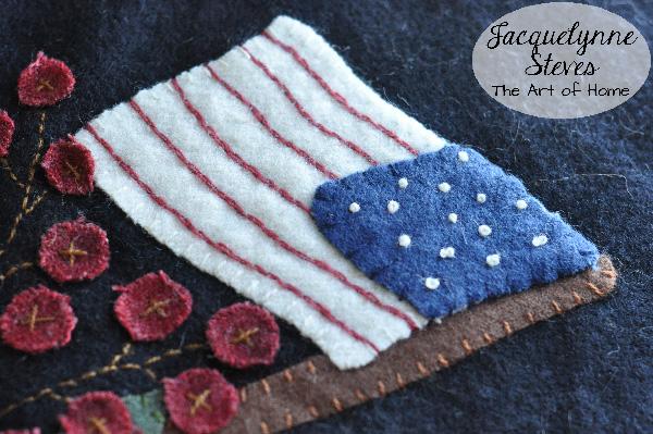 Wool Applique- flag closeup- Jacquelynne Steves