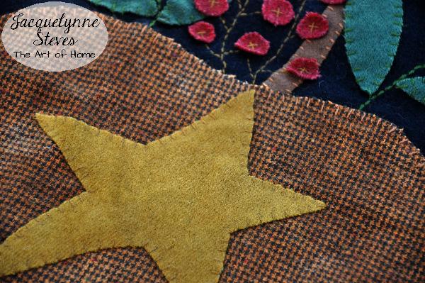 Wool Applique- star closeup- Jacquelynne Steves