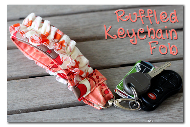 ruffled keychain fob