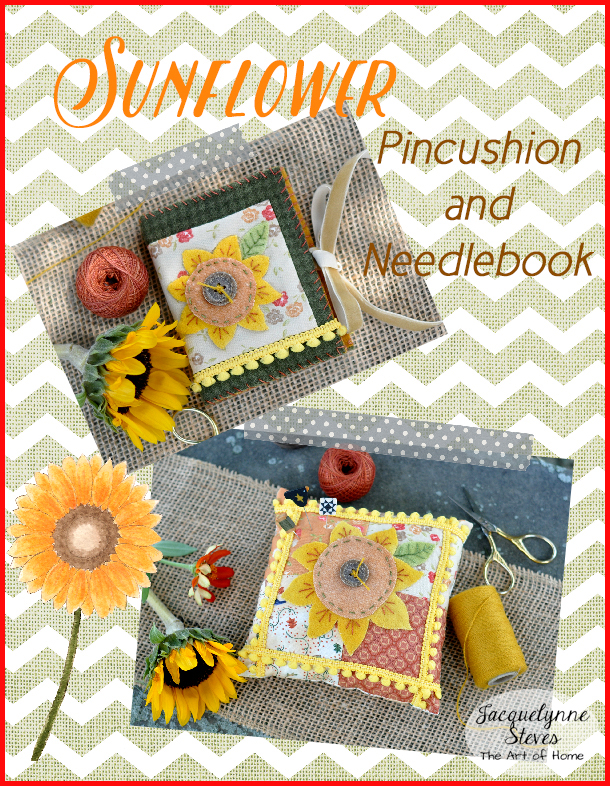 Sunflower Pin Cushion and Needle Book- Jacquelynne Steves