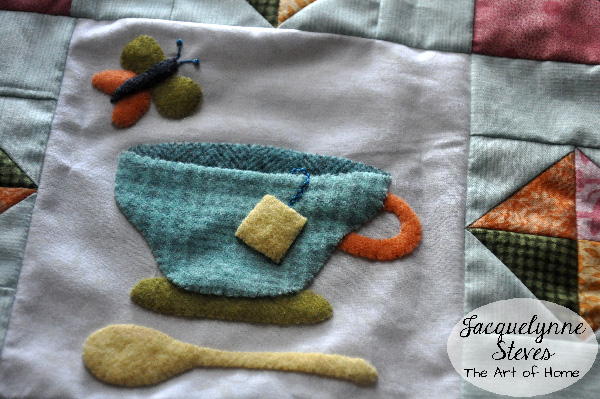 Wool Applique- Cozy Afternoon-closeup-Jacquelynne Steves