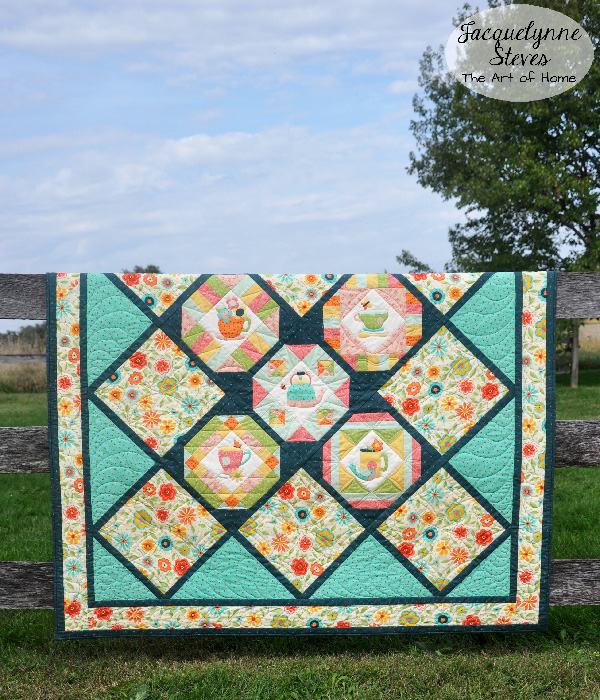 Cozy Afternoon Teacup applique quilt- Jacquelynne Steves