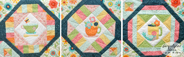 Cozy Afternoon Teacup applique quiltblocks- Jacquelynne Steves
