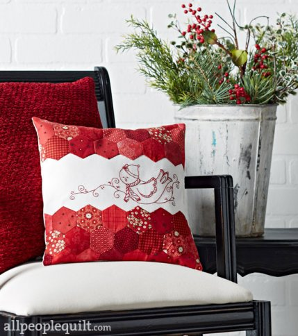 My Redwork Embroidery & Hexie Pillow Project in Quilts & More Magazine!