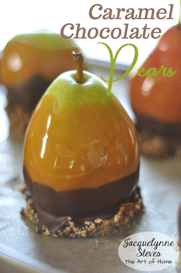 Caramel Chocolate Dipped Pears