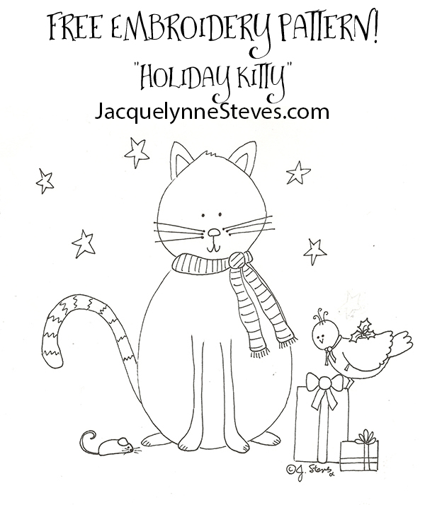 Free Embroidery Pattern- Holiday Kitty