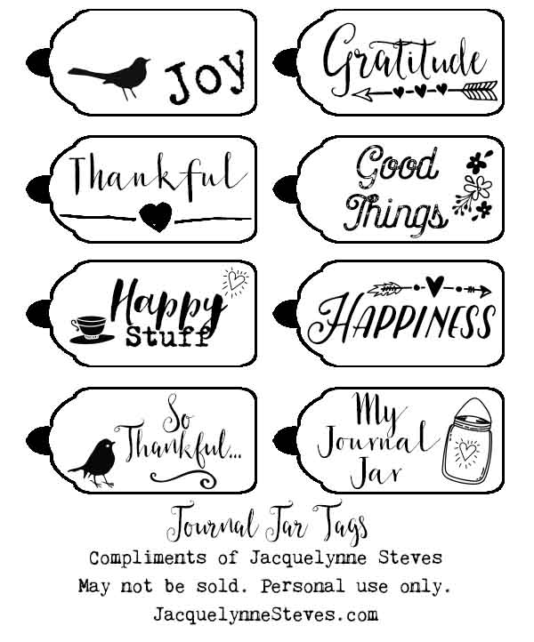 Journal Jar Printable Tags- Jacquelynne Steves