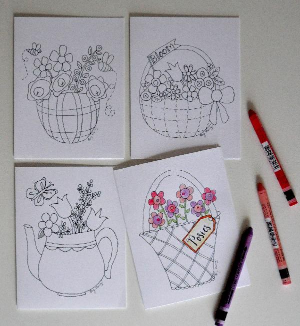 Baskets&BloomsNoteCardsToColor-JacquelynneSteves