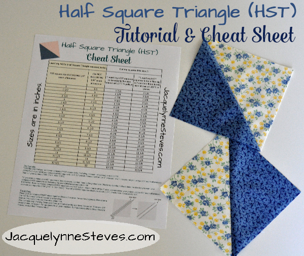 HST (Half Square Triangle) Tutorial and Cheat Sheet | JacquelynneSteves.com #quilt #quilting