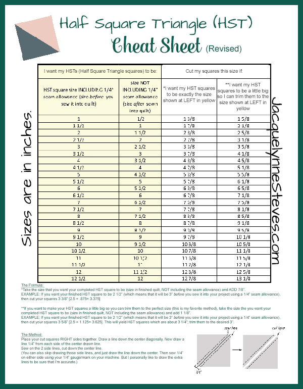 image about Printable Quilt Size Chart called 50 percent Sq. Triangle (HST) Cheat Sheet and Manual