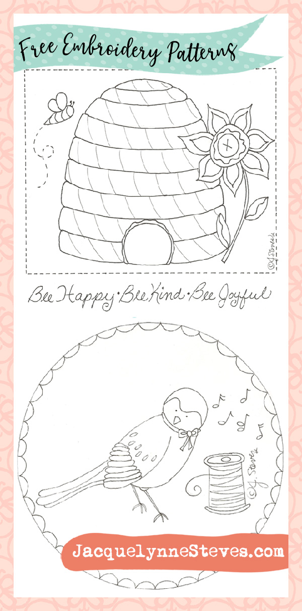 Free Bee And Bird Embroidery Patterns Jacquelynne Steves