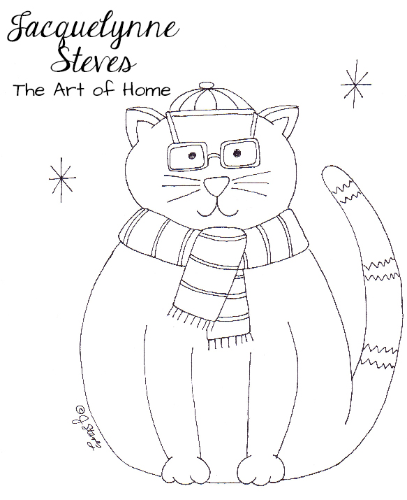 New Free Embroidery Pattern- Fat Christmas Cat!