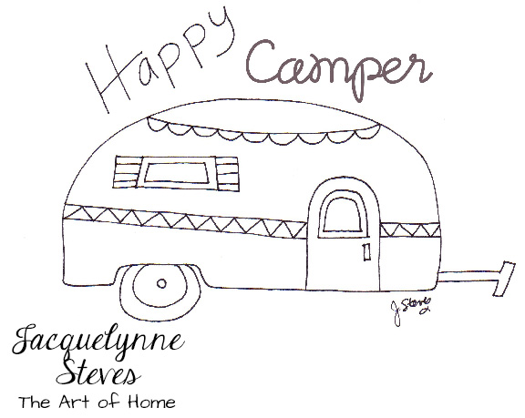 New Free Embroidery Pattern- Happy Camper!