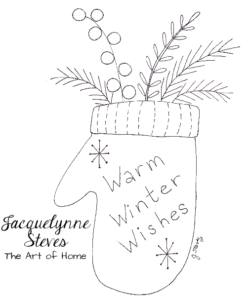 New Free Embroidery Pattern- Warm Winter Wishes Mitten