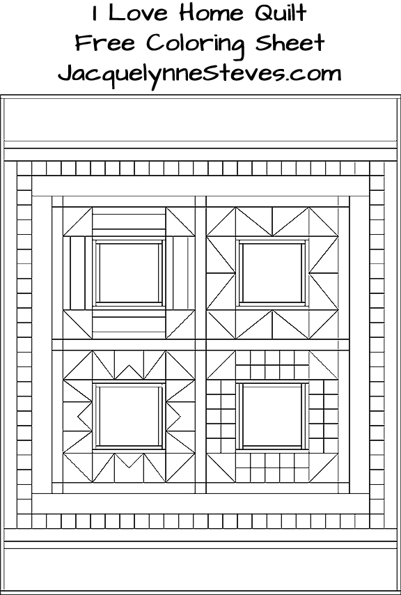 Free Coloring Sheet- I Love Home Quilt