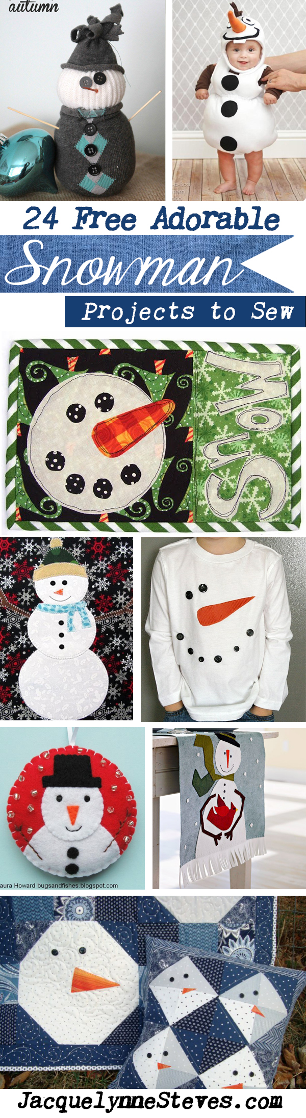 24 Free Snowman Projects to Sew