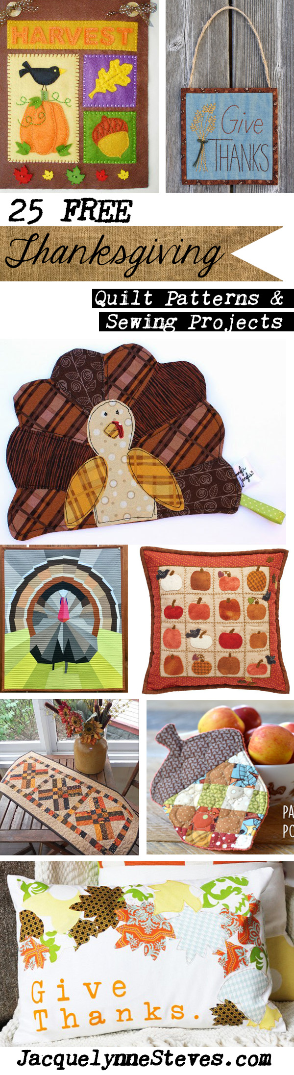 25 Free Thanksgiving Quilt Patterns & Sewing Projects